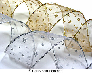 Christmas ribbon 4 - Gold and silver christmas ribbon...