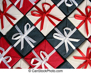 Gift boxes pattern - Pattern of red, blue and white...
