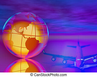 Airplane and globe - Digital montage of airplane