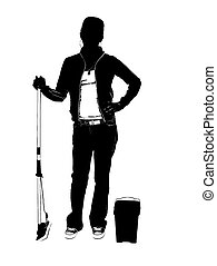 janitor - cleaning mopping silhouette
