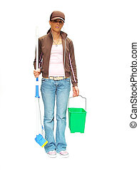 mopping - woman with mop