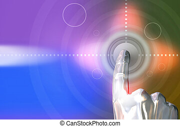 Click online - Man clicking on the button. 3D Abstraction...