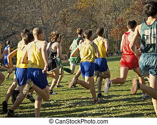 Cross Country - This is a group of runners at the beginning...