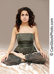 Lotus girl - Beautiful middle eastern teenage girl in yoga...