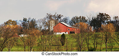 Country Barn - Country barn setting with silo