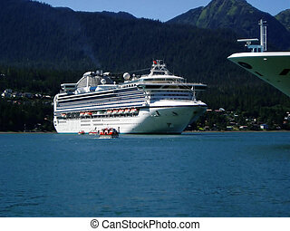 Alaska Cruise Ships - Cruise ships in Alaska with mountains...