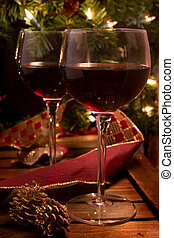 Happy Holidays - Red Wine with Christmas Background