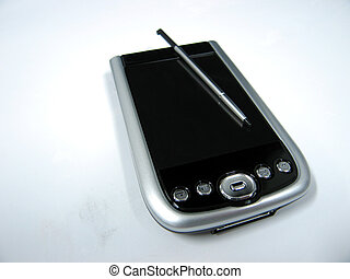 PDA with stylus on top - A personal digitial assistance PDA,...