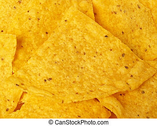 tortilla chips - macro of yellow corn tortilla chip