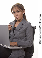 Woman with laptop - Woman and laptop