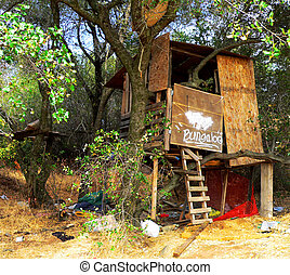 Shanty House - A treefort at day in a wooded setting,...