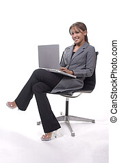 Laptop Lady - Elegant young executive with laptop