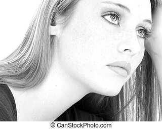 Casual Teen Girl Close Up Black and White - Casual teen girl...