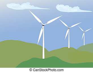 Wind Energy - Illustration of Windmills