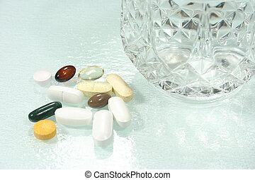 morning vitamins - a fistful of morning vitamins and...