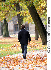 Stroll - A man walking through the park in autum