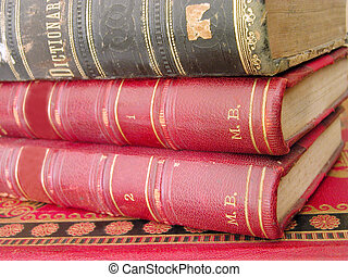 Old books stack..selective doff with the main focus on the...