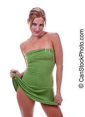 Green Mini Skirt - Blond model in green mini skirt