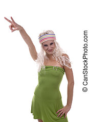 Peace Baby! - Hippie Chick showing the PEACE sign