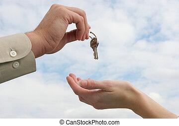 entregar, encima, llave
