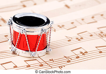 Christmas Carol - Drum Ornament and Sheet of Music -...
