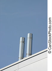 Two Stainless Steel Ventilation Chimneys - Two Steel...