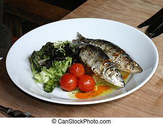grelhados, sardinhas