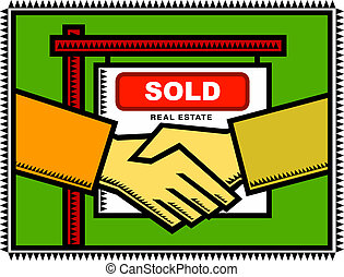 Property Sold - Illustration of a handshake between a...