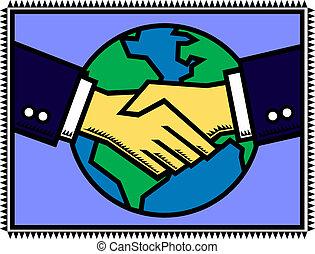 Global Partner - An illustration of a handshake after...
