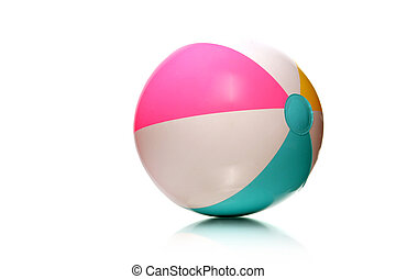 kids rubber beach ba - colorful rubber beach ball on white...