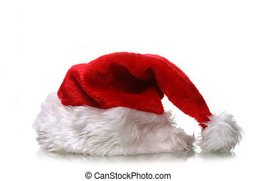 holiday hat - saint nicks furry red holiday hat on white...