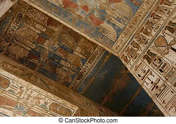 hieroglyphics - Egyptian hieroglyphics on wall and ceiling
