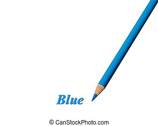 Blue Pencil - Closeup of a blue colored pencil over white...