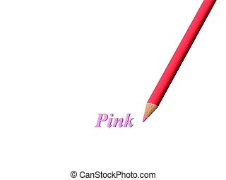 Pink Pencil - Closeup of a pink colored pencil over white...