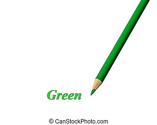 Green Pencil - Closeup of a green colored pencil over white...