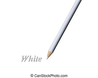 White Pencil - Closeup of a white colored pencil over white...