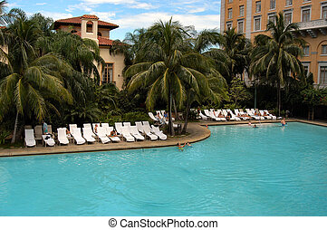 Large swimming pool at Biltmore hotel, Coral Gables,...