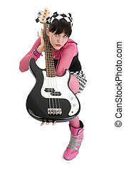 Bass Babe In Pink And Black - Beautiful young woman in pink...