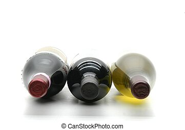 Three wine bottles isolated