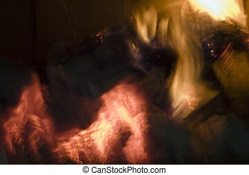fire background 2 - Fire from a real fireplace with an...