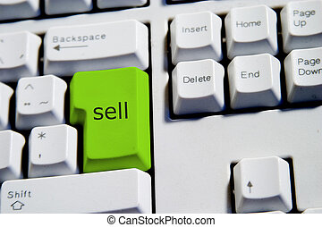 Green Sell Key - Computer Keyboard from a desktop computer...