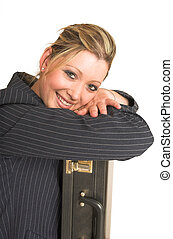 Laura Hopton #29 - Business woman leaning on suitcase