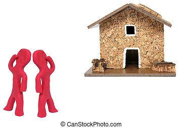 Looking for House - Plasticine figures looking for their...