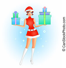 Santarina - A vector illustration of a female in a sexy...