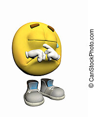 Emoticon guy crying - Illustration over white of an emoticon...