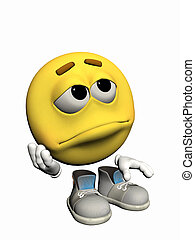 Emoticon guy looking sad - Illustration over white of an...
