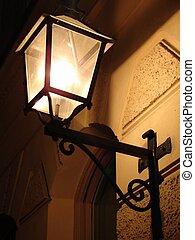 Gas Lantern - Old time gas lantern at night