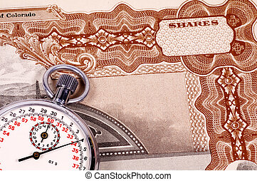 Market Timing - Stopwatch and a Stock Certificate - Market...