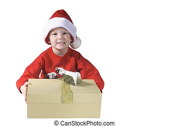 santa boy - child giving a present and happy