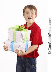 Boy carrying gifts